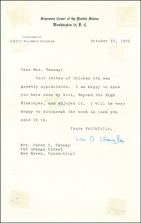 Autographs: ASSOCIATE JUSTICE WILLIAM O. DOUGLAS - TYPED LETTER SIGNED 10/15/1952