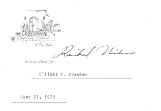 Autographs: PRESIDENT RICHARD M. NIXON - PRINTED CARD SIGNED IN INK 06/21/1978