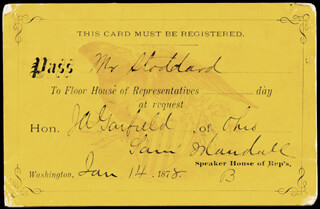 Autographs: SAMUEL J. RANDALL - PRINTED CARD SIGNED IN INK 01/14/1878