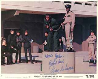 RODDY McDOWALL - INSCRIBED LOBBY CARD SIGNED