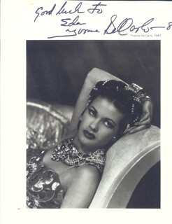 YVONNE DE CARLO - INSCRIBED MAGAZINE PHOTO SIGNED CIRCA 1948