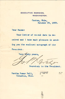 Autographs: GEORGE B. CORTELYOU - TYPED NOTE SIGNED 10/29/1900