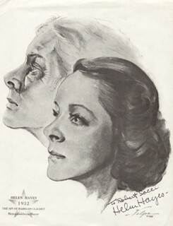HELEN HAYES - INSCRIBED ILLUSTRATION SIGNED CIRCA 1962
