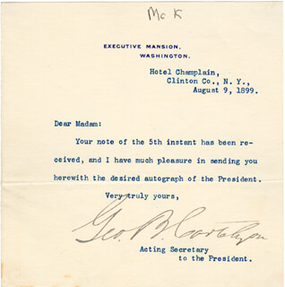 GEORGE B. CORTELYOU - TYPED NOTE SIGNED 08/09/1899
