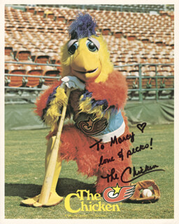 THE (TED GIANNOULAS) SAN DIEGO CHICKEN - AUTOGRAPHED INSCRIBED PHOTOGRAPH