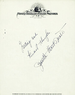 JEANETTE MacDONALD - AUTOGRAPH SENTIMENT SIGNED