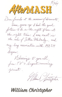 WILLIAM CHRISTOPHER - AUTOGRAPH LETTER SIGNED 08/13/1984