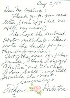 ESTHER RALSTON - AUTOGRAPH LETTER SIGNED 08/16/1984