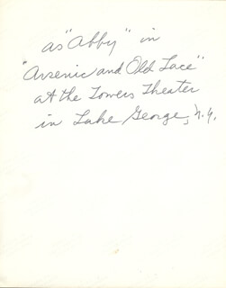 ESTHER RALSTON - AUTOGRAPH NOTE UNSIGNED