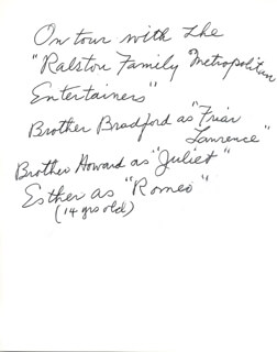 ESTHER RALSTON - AUTOGRAPH NOTE SIGNED IN TEXT