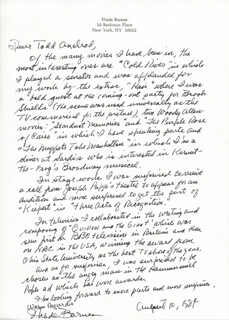 WADE BARNES - AUTOGRAPH LETTER SIGNED 08/10/1984