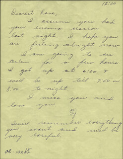 HOWARD HUGHES - AUTOGRAPH LETTER UNSIGNED WITH JEAN PETERS