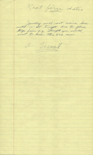 HOWARD HUGHES - AUTOGRAPH NOTE UNSIGNED WITH ROY CRAWFORD
