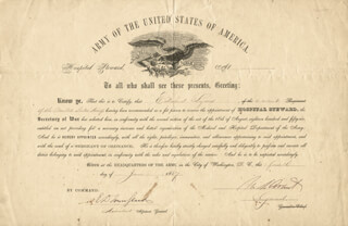 PRESIDENT ULYSSES S. GRANT - MILITARY APPOINTMENT SIGNED 06/04/1867 CO-SIGNED BY: BRIGADIER GENERAL EDWARD DAVIS TOWNSEND