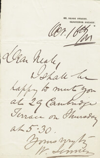 WILLIAM 1ST BARONET JENNER - AUTOGRAPH LETTER SIGNED 10/16/1885