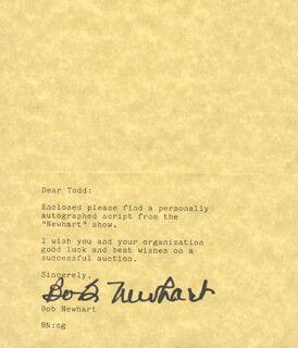BOB NEWHART - TYPED NOTE SIGNED