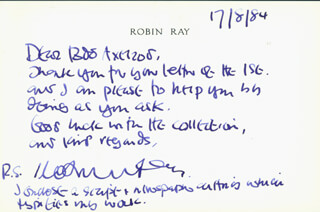 ROBIN RAY - AUTOGRAPH LETTER SIGNED 08/17/1984