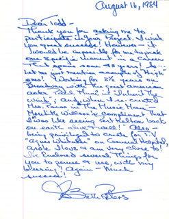 BETH PETERS - AUTOGRAPH LETTER SIGNED 08/16/1984