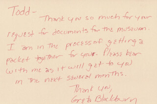 Autographs: GRETA BLACKBURN - AUTOGRAPH NOTE SIGNED 08/27/1984