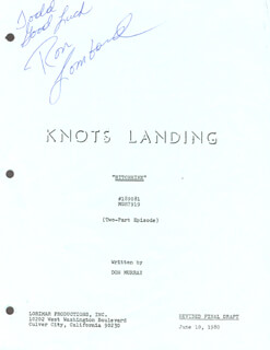 Autographs: RON LOMBARD - INSCRIBED SCRIPT PAGE SIGNED