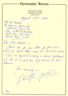 CHRISTOPHER FARRIES - AUTOGRAPH LETTER SIGNED 08/21/1984