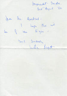 NICOLA PAGETT - AUTOGRAPH NOTE SIGNED 08/30/1984