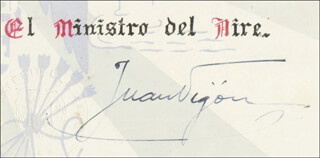 GENERAL JUAN VIGON SEURODIAZ - DOCUMENT SIGNED 10/17/1940