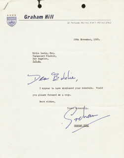 GRAHAM HILL - TYPED LETTER SIGNED 11/20/1965
