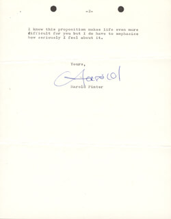 Autographs: HAROLD PINTER - TYPED LETTER SIGNED 11/18/1968