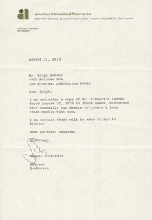 Autographs: SAMUEL Z. ARKOFF - TYPED LETTER SIGNED 08/31/1973