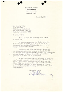 CHARLES E. ELECTRIC CHARLIE WILSON - TYPED LETTER SIGNED 03/31/1966