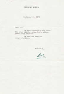 DELBERT MANN - TYPED LETTER SIGNED 09/13/1979