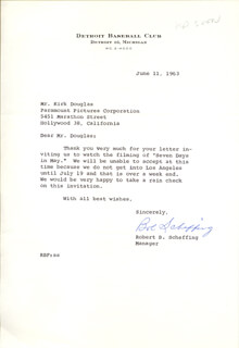 BOB SCHEFFING - TYPED LETTER SIGNED 06/11/1963