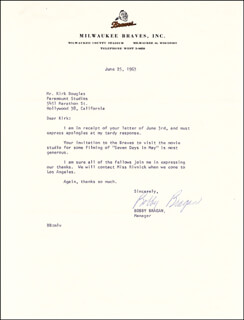 BOBBY NIG BRAGAN - TYPED LETTER SIGNED 06/25/1963