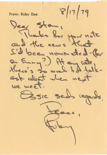 RUBY DEE - AUTOGRAPH LETTER SIGNED 08/17/1979