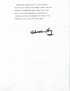 Autographs: VICE PRESIDENT HUBERT H. HUMPHREY - TYPESCRIPT SIGNED