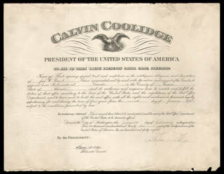 Autographs: PRESIDENT CALVIN COOLIDGE - CIVIL APPOINTMENT SIGNED 02/15/1924 CO-SIGNED BY: HARRY S. NEW