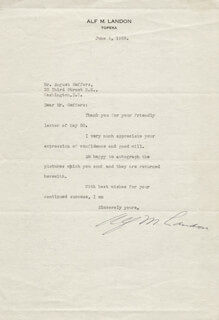 GOVERNOR ALF M. (ALFRED) LANDON - TYPED LETTER SIGNED 06/08/1938
