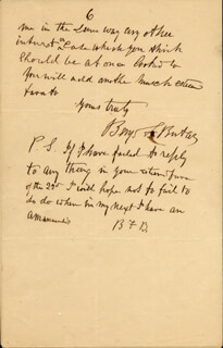 Autographs: MAJOR GENERAL BENJAMIN F. BUTLER - AUTOGRAPH LETTER DOUBLE SIGNED 02/24/1889