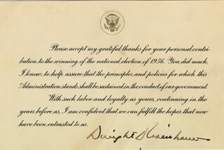 Autographs: PRESIDENT DWIGHT D. EISENHOWER - PRESIDENTIAL CARD SIGNED
