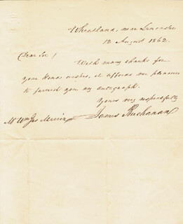PRESIDENT JAMES BUCHANAN - AUTOGRAPH LETTER SIGNED 08/12/1862