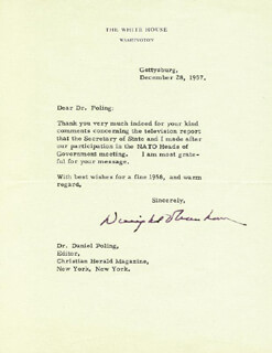 PRESIDENT DWIGHT D. EISENHOWER - TYPED LETTER SIGNED 12/28/1957