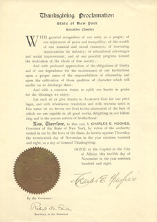 CHIEF JUSTICE CHARLES E HUGHES - PROCLAMATION SIGNED 11/12/1908
