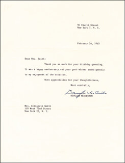 GENERAL DOUGLAS MACARTHUR - TYPED LETTER SIGNED 02/26/1963