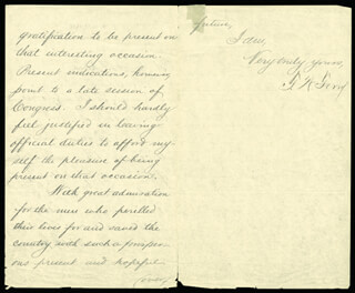 THOMAS W. FERRY - AUTOGRAPH LETTER SIGNED 05/20/1882