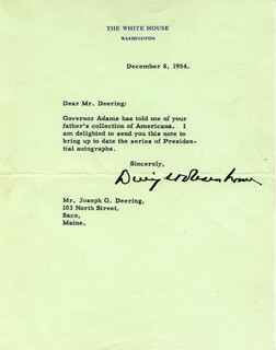PRESIDENT DWIGHT D. EISENHOWER - TYPED LETTER SIGNED 12/08/1954