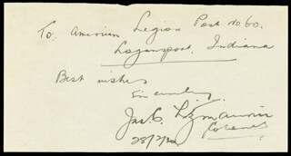 JAMES MICHAEL CHRISTOPHER FITZMAURICE - AUTOGRAPH NOTE SIGNED 02/28/1930