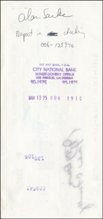 Autographs: ALAN SACKS - PAYCHECK ENDORSED 03/13/1975