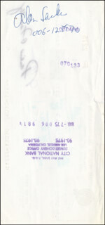 Autographs: ALAN SACKS - PAYCHECK ENDORSED 03/06/1975