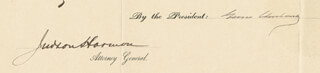 Autographs: PRESIDENT GROVER CLEVELAND - CIVIL APPOINTMENT SIGNED 06/28/1895 CO-SIGNED BY: JUDSON HARMON